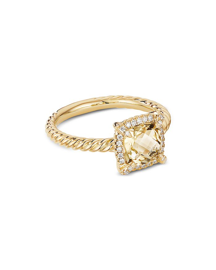 David Yurman - Petite Châtelaine® Pavé Bezel Ring in 18K Yellow Gold with Diamonds & Gemstones