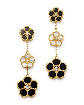 Roberto Coin - Daisy Collection 18K Yellow Gold Black Onyx, Mother-Of-Pearl & Diamond Flower Drop Earrings - 100% Exclusive