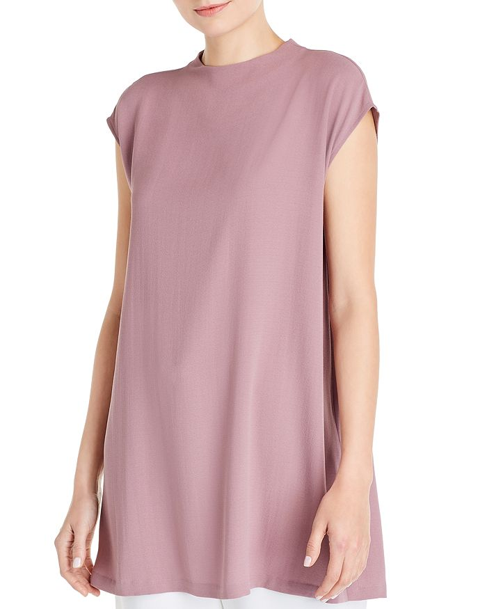Eileen Fisher - Silk Funnel-Neck Tunic Top