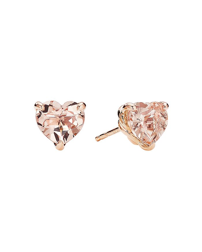 David Yurman - Châtelaine® Heart Stud Earrings in 18K Rose Gold with Morganite