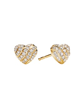 David Yurman - Cable Collectibles Heart Stud Earrings in 18K Yellow Gold with Pavé Diamonds