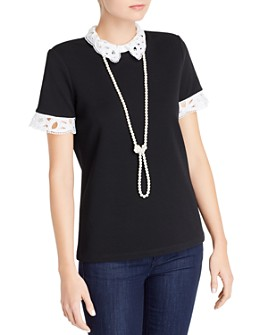 KARL LAGERFELD PARIS - Lace-Trim Short-Sleeve Top