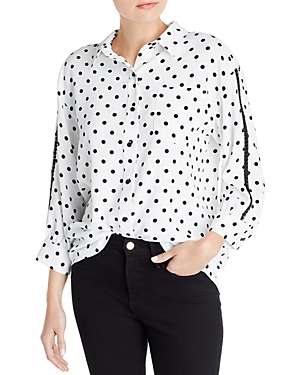 Karl Lagerfeld Paris Printed Button-Up Blouse-Women