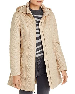 Via Spiga Detachable-Hood Zig-Zag Quilted Coat