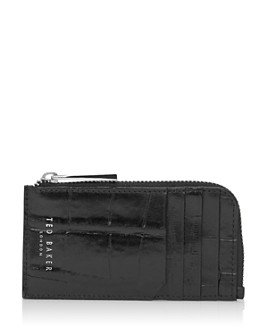 Ted Baker - Squere Croc-Embossed Leather Zip Cardholder