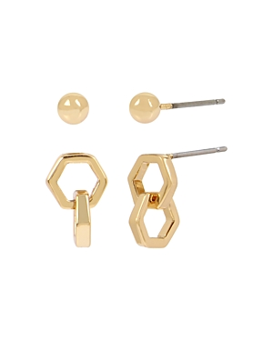 Allsaints Gold-Tone Hexagon Link Earrings Set, Set of 2