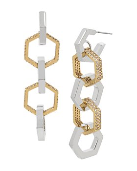 ALLSAINTS - Two-Tone Pavé Hexagon Link Linear Drop Earrings