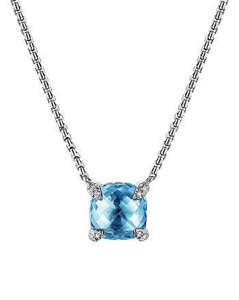 David Yurman - Châtelaine® Pendant Necklace with Blue Topaz and Diamonds, 18""