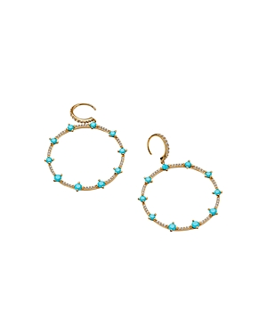 Nadri 18K Gold-Plated Cubic Zirconia & Stone Drop Hoop Earrings