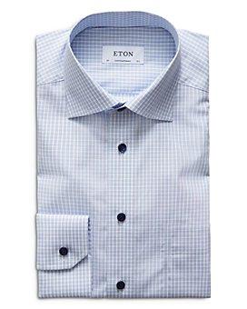 Eton - Contemporary Fit Contrast Blue Button Plaid Poplin Dress Shirt