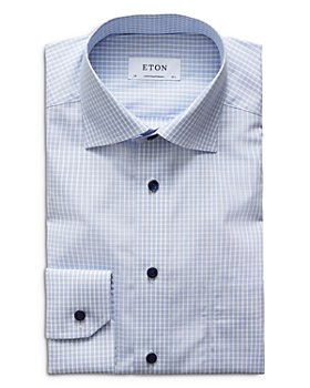 Eton - Contemporary Fit Contrast Blue Button Plaid Poplin Dress Shirt