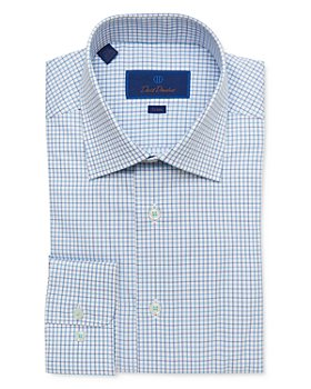 David Donahue - Cotton Open Check Trim Fit Dress Shirt