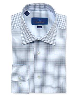 David Donahue Cotton Open Check Trim Fit Dress Shirt-Men