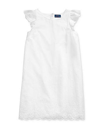 Ralph Lauren - Girls' Eyelet-Embroidered Flutter-Sleeve Dress - Big Kid