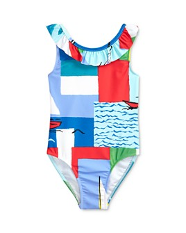 Ralph Lauren - Girls' Abstract Print Ruffled One-Piece Swimsuit - Baby