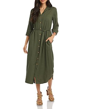 Karen Kane - Long Tie-Waist Shirtdress