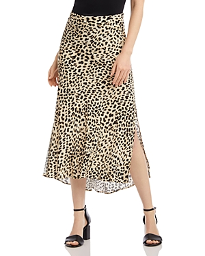 Karen Kane Animal Print Bias-Cut Midi Skirt