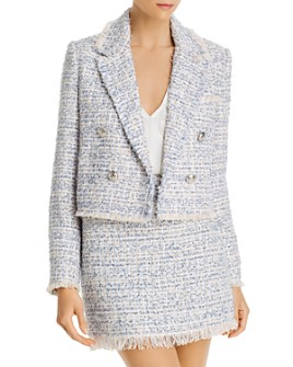 AQUA - Fringed Tweed Blazer - 100% Exclusive