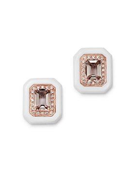 Bloomingdale's - Morganite, White Agate & Diamond Stud Earrings in 14K Rose Gold