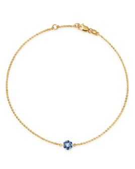 Bloomingdale's - Blue Sapphire & Diamond Flower Ankle Bracelet in 14K Yellow Gold - 100% Exclusive
