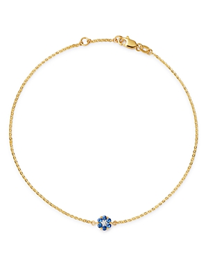 Bloomingdale's Blue Sapphire & Diamond Flower Ankle Bracelet in 14K Yellow Gold - 100% Exclusive
