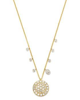 "Meira T - 14K White & Yellow Gold Pavé Disc & Bezel Pendant Necklace, 16-18"""