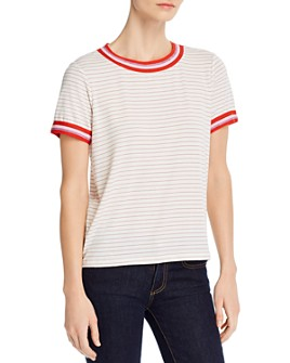 cupcakes and cashmere - Striped Tape-Trim Knit Tee