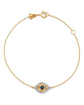 Adina Reyter - 14K Yellow Gold Blue & White Diamond Pavé Evil Eye Bracelet