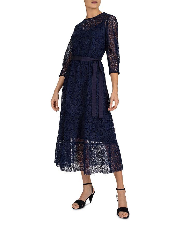 Gerard Darel Sveva Lace A-line Dress In Blue