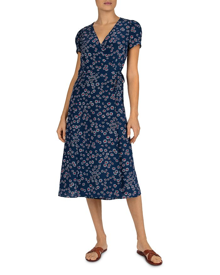 Gerard Darel Sara Floral Wrap Dress In Blue