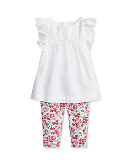 Ralph Lauren - Girls' Eyelet Ruffle-Trimmed Top & Floral Leggings Set - Baby