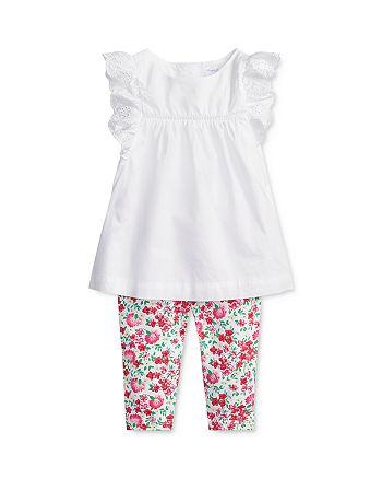 Ralph Lauren - Girls' Eyelet Ruffle-Trimmed Top & Floral Leggings Set - Baby