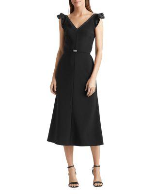 Red Navy L Lauren Ralph Lauren Womens Belted Ruffle Drop Waist Dress