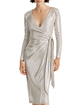 Ralph Lauren - Metallic Faux-Wrap Dress