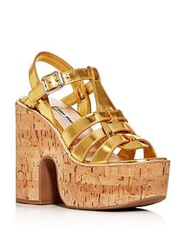 Miu Miu - Women's Calzature Donna Platform Block-Heel Sandals