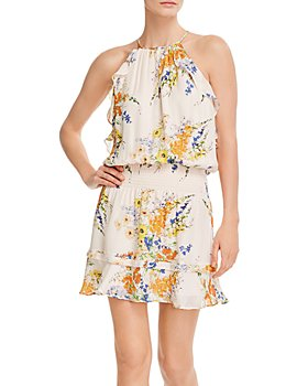 Parker - Williame Silk Ruffled Halter Mini Dress