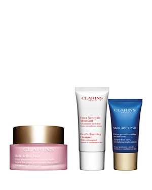 What It Is: A limited-edition three-piece value set of line-fighting essentials for smooth, radiant skin. Set Includes: - Multi-Active Day Cream - All Skin Types 1.6 oz. (Full Size) - Multi-Active Night Cream - Normal to Combination Skin 0.5 oz. (Trial Size) - Gentle Foaming Cleanser - Normal or Combination Skin 0.8 oz. (Trial Size) What It Does: - This nonstop radiance boosting routine featuring Multi-Active\\\'s targeted anti-aging formulas powered by revitalizing teasel extract works 24/7 to fig