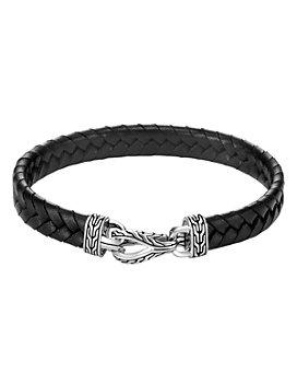 JOHN HARDY - Sterling Silver & Black Leather Classic Chain Asli Braided Cord Bracelet