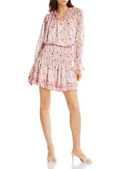 AQUA - Floral Print Top & Smocked Skirt - 100% Exclusive