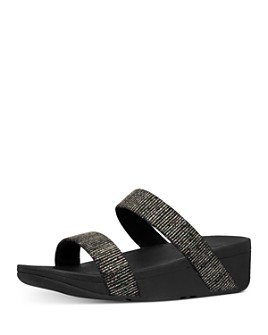 FitFlop - Women's Lottie Glitter Stripe Slip On Wedge Sandals