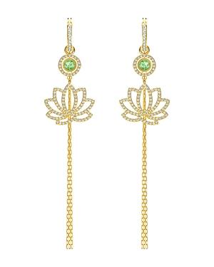 Swarovski Crystal & Lotus Interchangeable Linear Drop Earrings