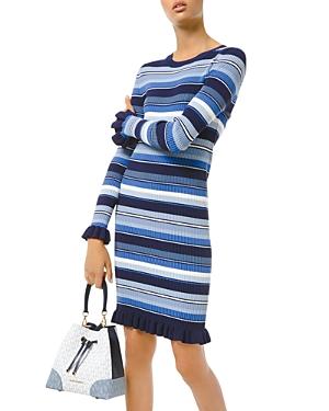 Michael Michael Kors Ruffle Trim Striped Ribbed Dress-Women