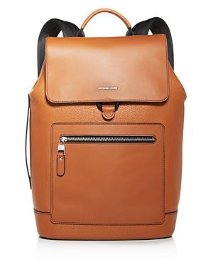 Michael Kors Hudson Flap Pebbled Leather Backpack
