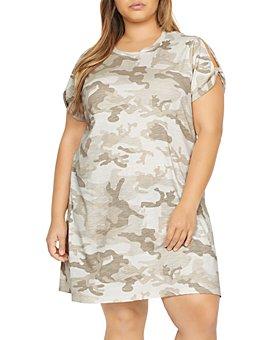 Sanctuary Curve - Camo Print Split-Sleeve Dress