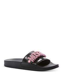 Moschino - Women's Embellished-Logo Slide Sandals