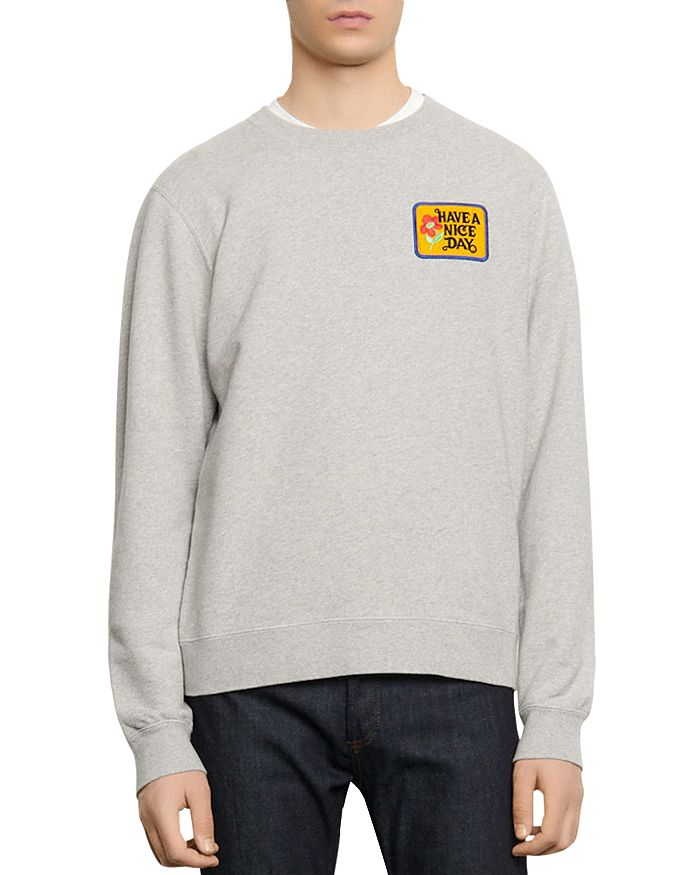 """Sandro - """"Have a Nice Day"""" Embroidered Sweatshirt"""