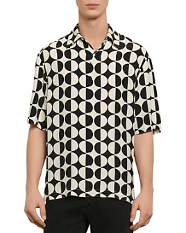 Sandro - Circles Printed Short Sleeve Button-Up Shirt
