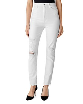 J Brand - 1212 Runway High-Rise Slim Straight Jeans in White Destruct