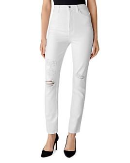 J Brand - 1212 Runway High-Rise Slim Straight Jeans in White Destruct