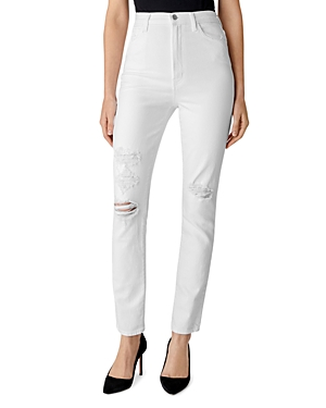 J Brand 1212 Runway High-Rise Slim Straight Jeans in White Destruct-Women